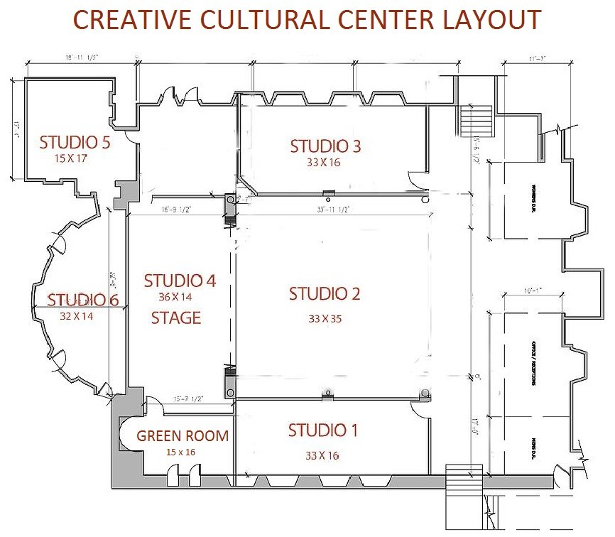 Architectural drawing of the CCC spaces