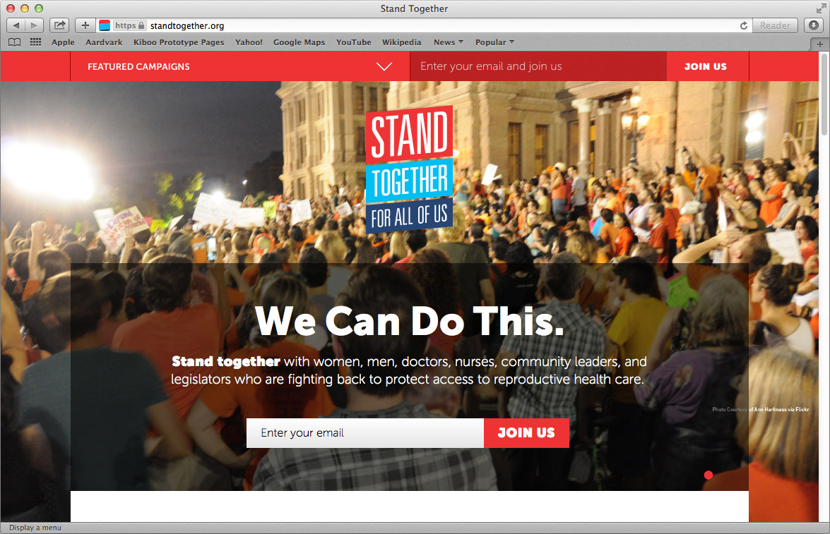 Homepage for Stand Together site - directs to individual state actions, news, etc.