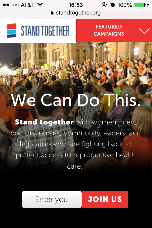 Mobile View of Stand Together Homepage