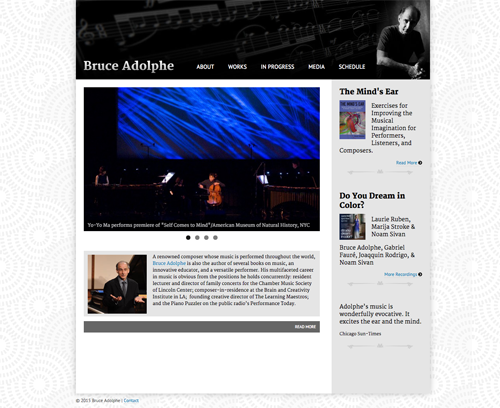 Homepage for Bruce Adolphe personal portfolio website