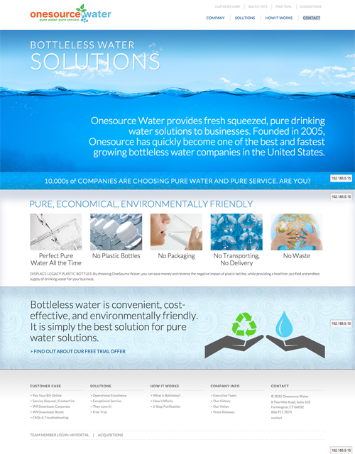 Homepage of One Source Water Website, featuring bold, editable content