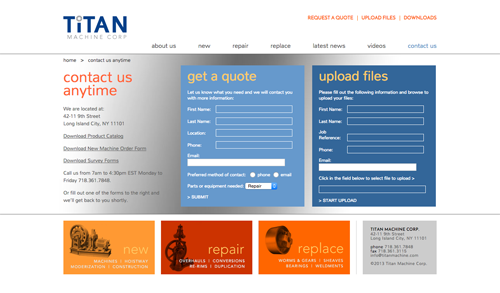 The Contact Page for Titan Machine features two forms, narrow in focus, one of which allows file uploads